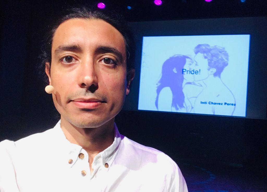 Inti Chavez Perez föreläser om hbtq-rättigheter på Linköpings Regnbågsvecka.
