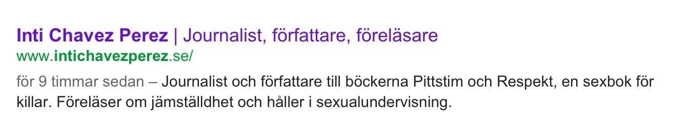 Googles beskrivning efter